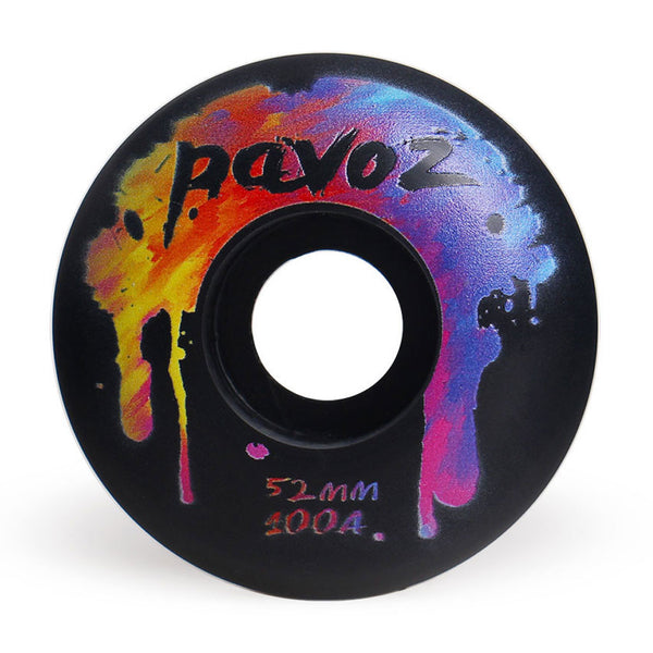Top Quality Skateboard Wheels 52mm 100A  Rainbow Black - Pavoz