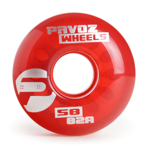 Pro Cruiser Wheels On Regular Skateboard 58mm 82A Clear Red