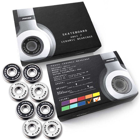 Pro Ceramic Skateboard Bearings Top Quality High Speed No Rust ABEC-7 Black & White V2.0 - Pavoz