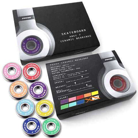 Pro Ceramic Skateboard Bearings Top Quality High Speed No Rust ABEC-7 Rainbow V2.0 - Pavoz