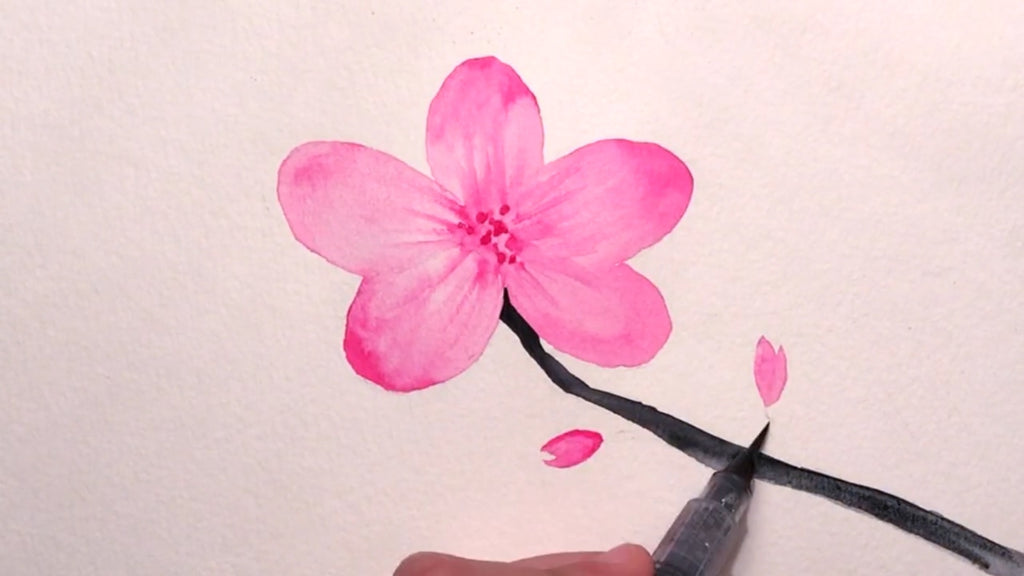 How to paint a cherry blossom flower tutorial with watercolors