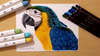 How to draw a parrot with markers and pencils