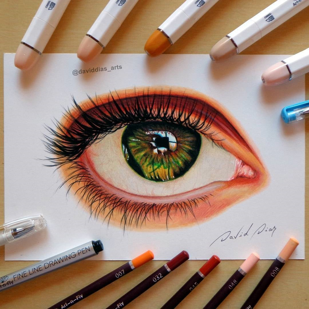 How to draw an eye tutorial w markers pencils art n fly supplies