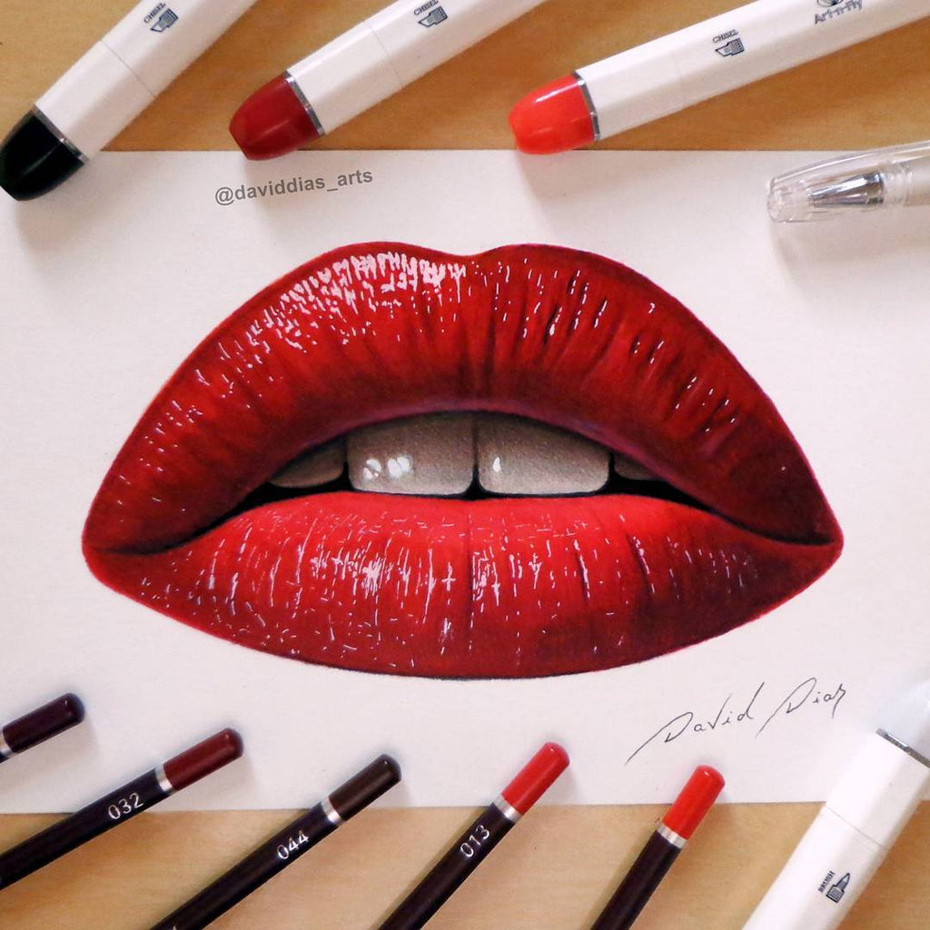 How to draw lips tutorial with Art-n-Fly markers and pencils