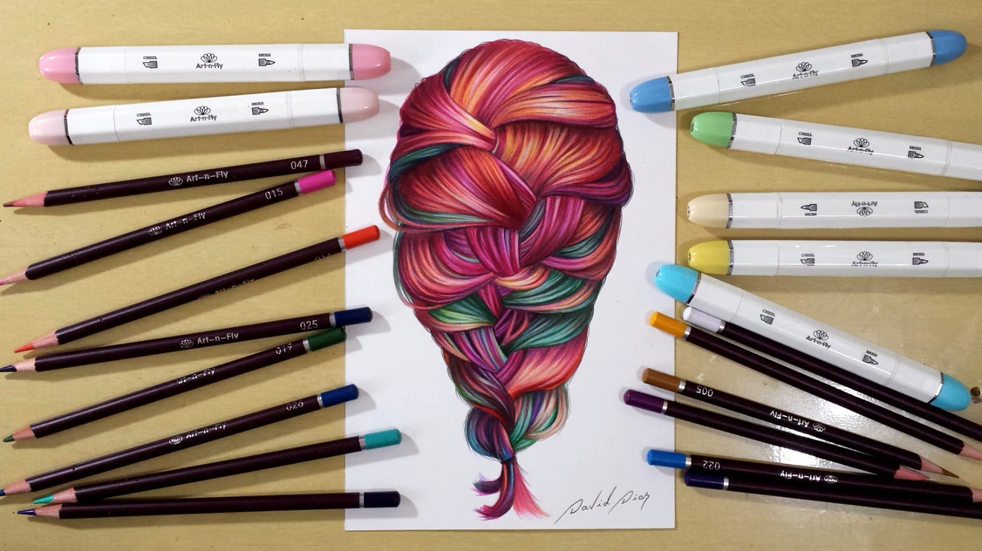 How to Draw Plus Coloring Colorful Hair w/ Marker Tutorial | Art-n-Fly