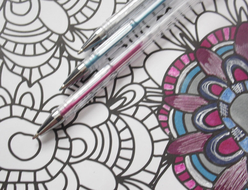 4 Gel Pen Techniques To Use In Your Adult Coloring Books Tutorial
