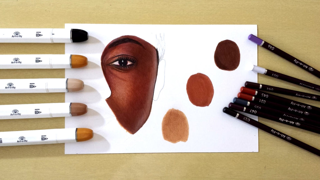 Coloring dark skin tutorial with Art-n-Fly markers and pencils