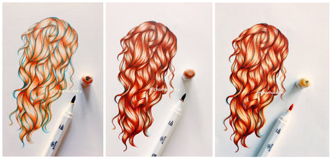 How to draw hair with Brush Markers and Brush Pens - Art-n-Fly