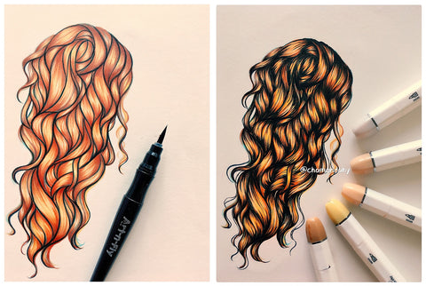 drawing hair with inking markers