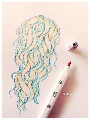 drawing hair with markers and pencils