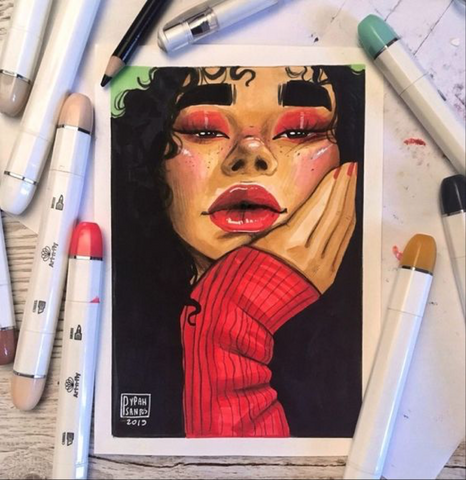 Picture of girl with red and black markers