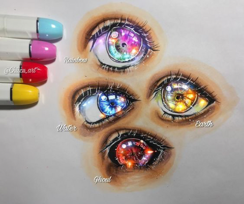 Eyes made with markers
