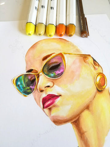 How to draw sunglasses with markers and pens