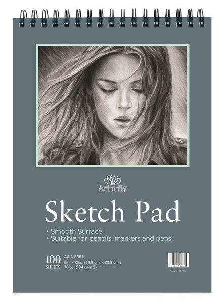 100 sheet 9 x 12 sketch pad Smooth surface pen marker pencil drawing