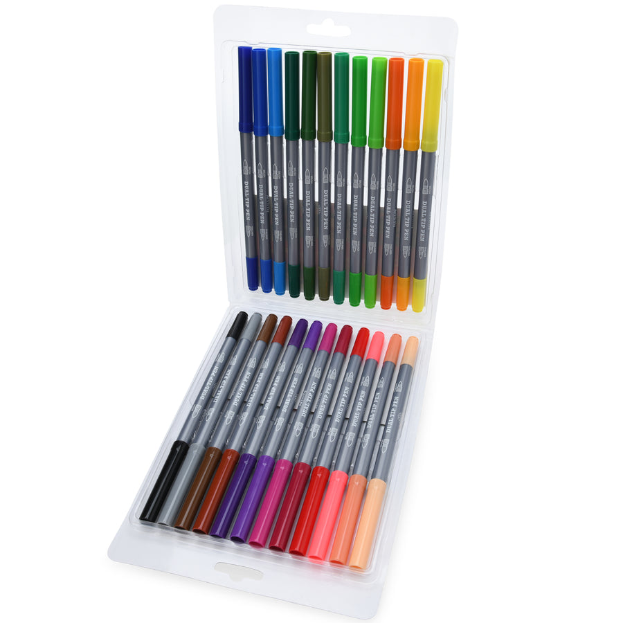 24 Dual Tip Color Fineliner Pens and Brush Tips