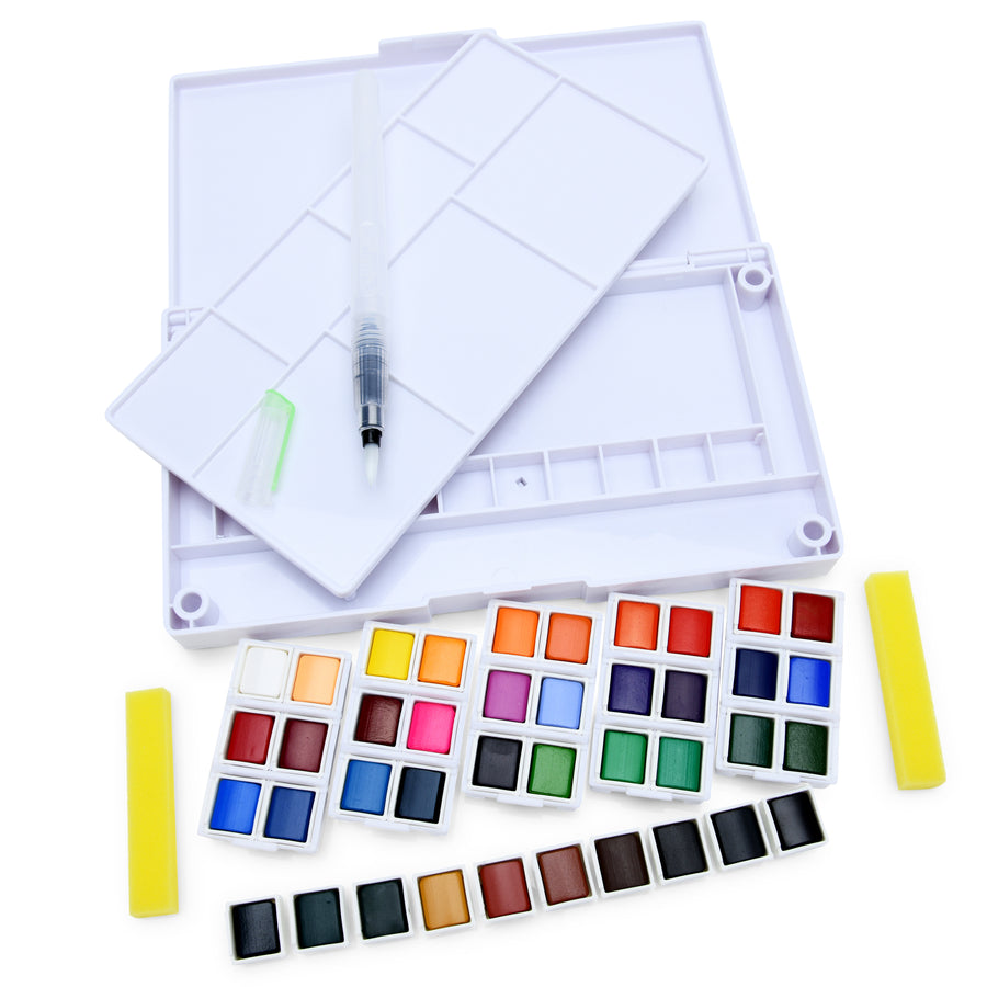 40 Watercolor Set Including Water Brush