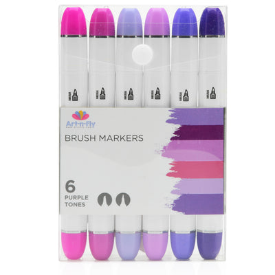 Brush Nib Markers Purple Tones - Set of 6 Dual Tip Markers