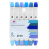 Brush Nib Markers Blue Tone - Set of 6 Dual Tip Markers