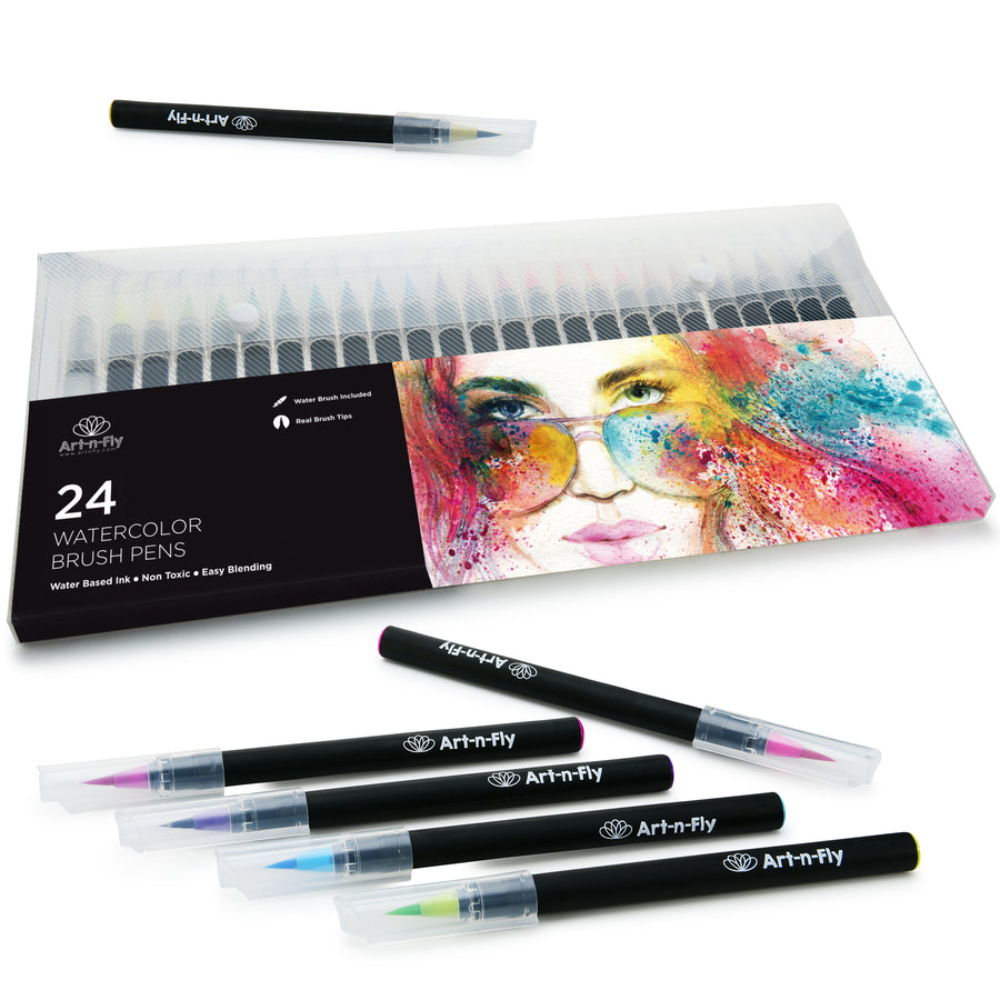 24 Watercolor Paint Brush Pens