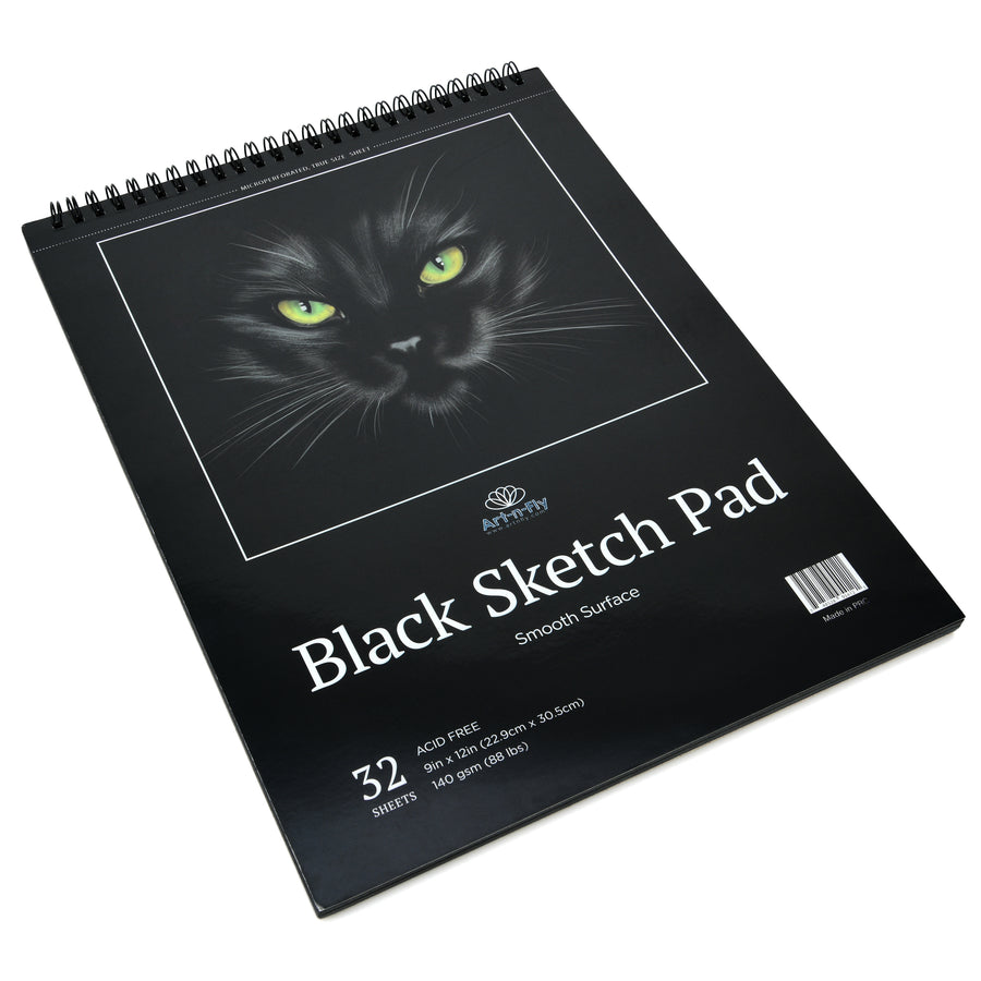 32 Sheets Crisp Black Sketch Pad (Perforated on Spiral)