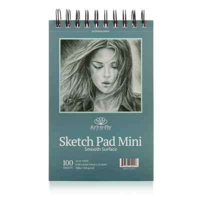 Two Pack Spiral Bound Sketchpad for Travel and Portable Sketch Work - 200 Sheets Total - Pad 70lb/100g for Drawing (5.5x8.5)