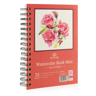 Art-n-Fly 5.5 x 8.5 in Watercolor Sketchpad Mini Book - 2 Pack x 35 Sheets Each- Spiral Bound and Microperforated - 300gsm / 140lb 8.5x5.5