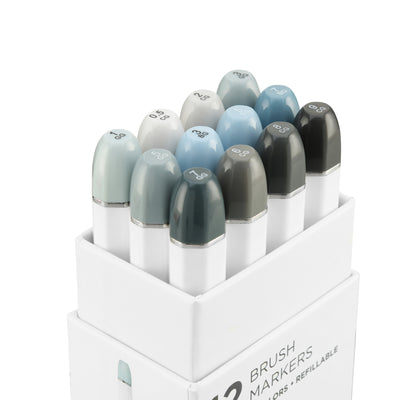 Brush Nib Markers Cool Gray - Set of 12 Dual Tip Markers