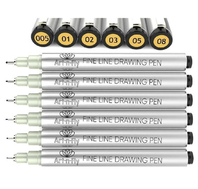 Black Fineliner Inking Pens - Set of 6 Tip Sizes