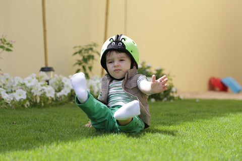 SafeheadBABY Soft Protective Headgear Ladybird Green