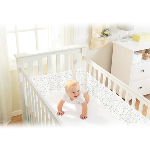 BreathableBaby MESH LINER - TWINKLE TWINKLE, White with Grey Stars