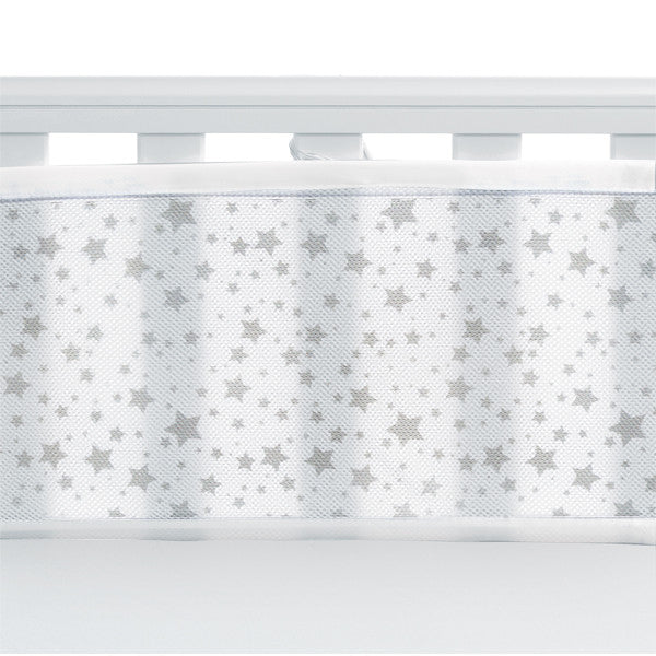 BreathableBaby 2 SIDED MESH LINER - TWINKLE TWINKLE, White with Grey Stars