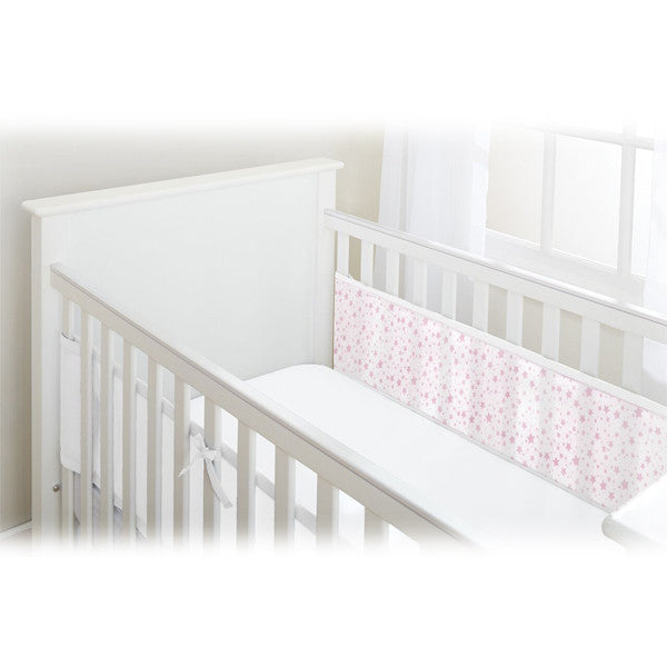 BreathableBaby 2 SIDED MESH LINER - TWINKLE TWINKLE, White with Pink Stars