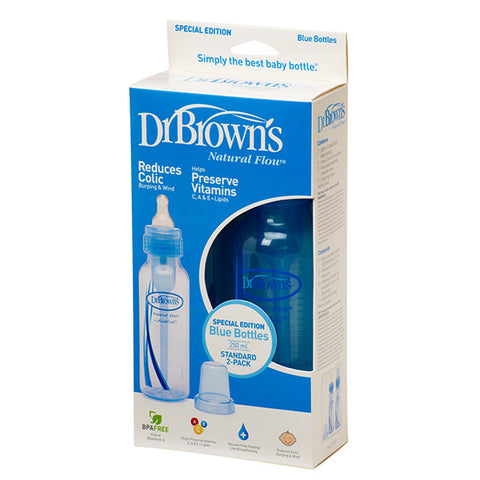Dr Brown's 8oz Natural Flow Baby Bottle (Blue) 2-Pack