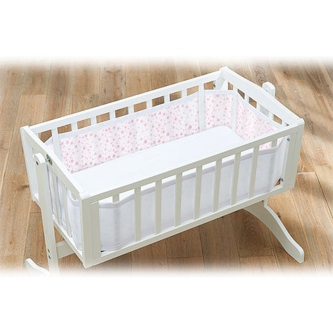 BreathableBaby MESH CRIB LINER - TWINKLE TWINKLE, White with Pink Stars