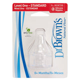 Dr Brown's Level-1 Silicone Nipple 2-Pack