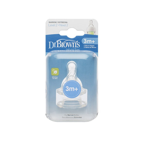 "Dr. Brown's Level-2 Silicone Narrow-Neck ""Options"" Nipple, 2-Pack"