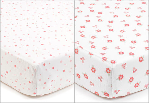 BreathableBaby Super Dry Sheets - ENGLISH GARDEN  - English Rose & Polka Dot PACK OF 2 (140 cm x 70 cm)