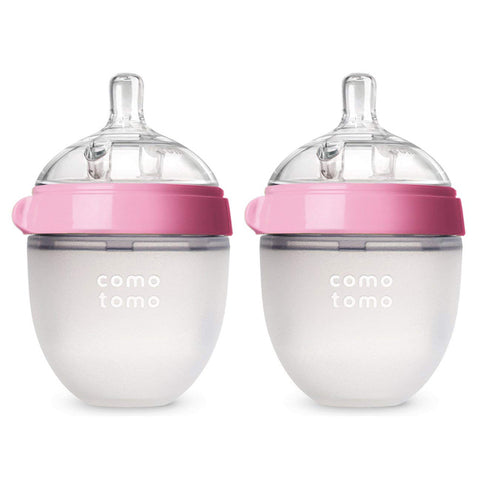"Comotomo ""Natural Feel"" Baby Bottle (Double Pack) Pink 150ml (5oz)"