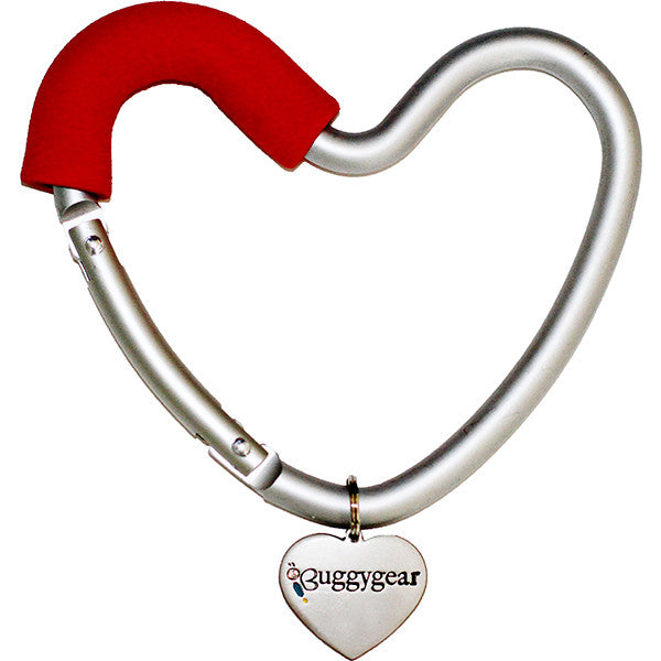 BuggyGear Heart Shaped Stroller Hook - Silver / Red