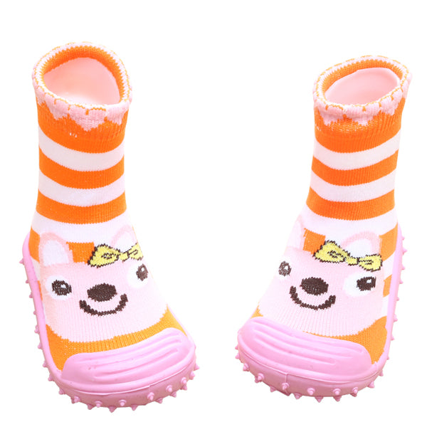 COOL GRIP Baby Shoe Socks (Bunny Orange) SIZE 23