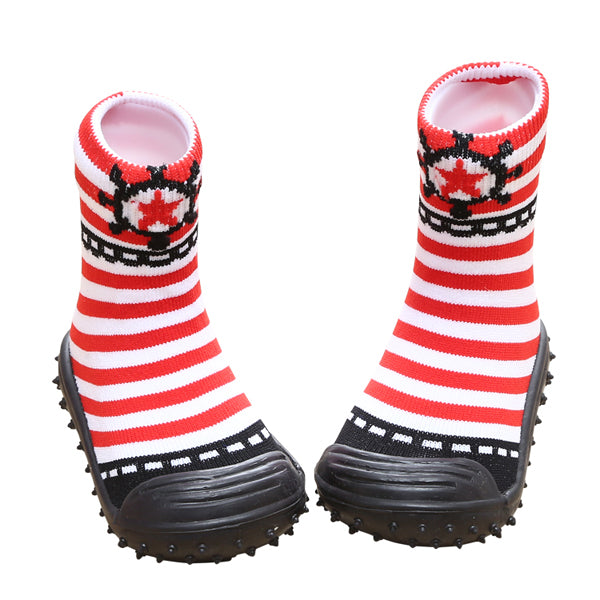COOL GRIP Baby Shoe Socks (Sailor Red Stripes) SIZE 21