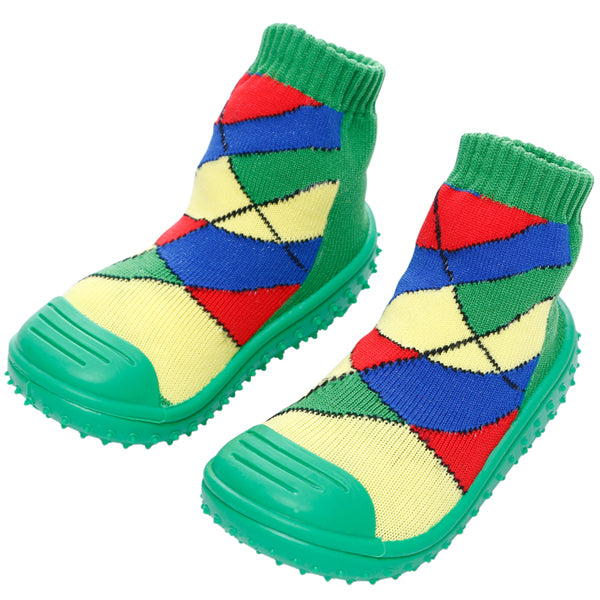 COOL GRIP Baby Shoe Socks (Green Checker) SIZE 22
