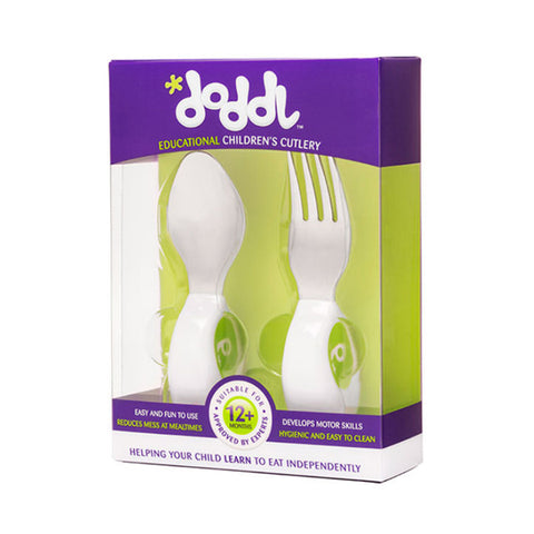 Doddl Cutlery 2 Pcs Set (Spoon & Fork) Lime Green