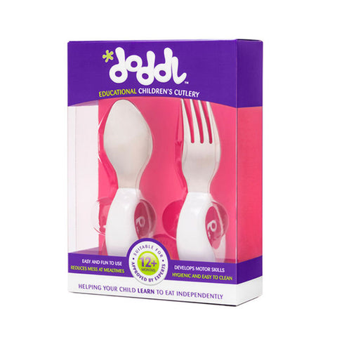 Doddl Cutlery 2 Pcs Set (Spoon & Fork) Raspberry Pink