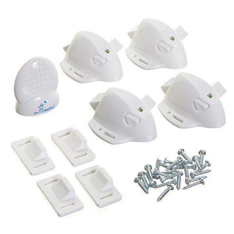 Dreambaby® Adhesive Mag Locks - 4 Locks, 1 Key - White