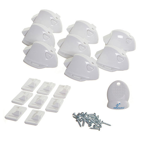 Dreambaby® Adhesive Mag Locks - 8 Locks, 1 Key - White