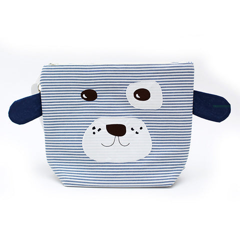 Nikiani My First Snack Buddy Cotton  Insulated Snack Bag - Scout Doggy Blue / White Stripe