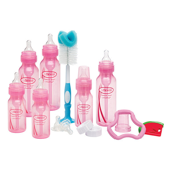 Dr Brown's Pink Bottle Gift Set (3-4oz & 3-8oz bottles, 2-L2 & 2-L3 nipples, 1 Flexee & 1 Coolee teether, 700 brush, 2 travel caps & 2 cleaning brushes