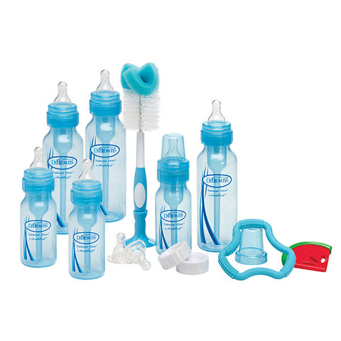 Dr Brown's Blue Bottle Gift Set (3-4oz & 3-8oz bottles, 2-L2 & 2-L3 nipples, 1 Flexee & 1 Coolee teether, 700 brush, 2 travel caps & 2 cleaning brushes