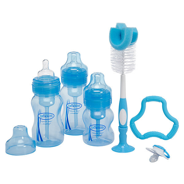 Dr Brown's WN Blue Gift Set (2-8oz & 1-4oz bottles, PreVent, Flexees, Bottle Brush & 2 cleaning brushes)